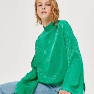 TopShop Asian Inspired Green Jacquard Top Size 2